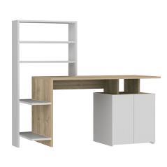 Melis Γραφείο με ραφιέρα χρώμα λευκό-sonoma 146x60x129 cm
