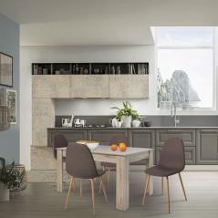 COMMON Set Τραπεζαρία: Τραπέζι 134x90cm Sonoma + 4 Καρέκλες Μέταλλο Βαφή ΦυσικόΎφασμα Καφέ Table134x90x75 Chair45x54x85cm