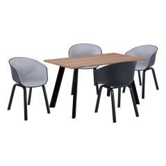 OPTIM Set Α Τραπεζαρία:Τραπέζι + 4 Πολυθρόνες Μέταλλο Μαύρο / PP ΜαύροΎφασμα Ανοιχτό Γκρι Τρ.120x70x75 +4 Πολ.54x51x79cm