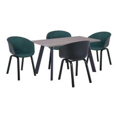 OPTIM Set Α Τραπεζαρία:Τραπέζι + 4 Πολυθρόνες Μέταλλο Μαύρο / PP Μαύρο Ύφασμα Πράσινο Τρ.140x80x75 +4 Πολ.54x51x79cm