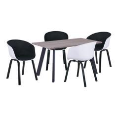 OPTIM Set Α Τραπεζαρία:Τραπέζι + 4 Πολυθρόνες Μέταλλο Μαύρο / PP Άσπρο Ύφασμα Μαύρο Τρ.140x80x75 +4 Πολ.54x51x79cm