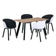 OPTIM Set C Τραπεζαρία:Τραπέζι + 4 Πολυθρόνες Μέταλλο  Μαύρο / PP Άσπρο Ύφασμα Μαύρο Τρ.120x70x75 +4 Πολ.54x51x79cm