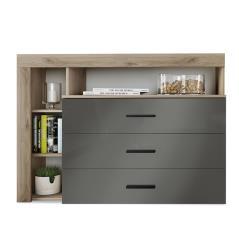Cute Συρταριέρα με τρία συρτάρια χρώμα φυσικό-ανθρακί gloss 120x43x89 cm