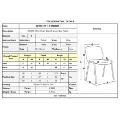 SIGMA Καρέκλα Στοιβαζόμενη Γραφείου - Επισκέπτη Μέταλλο Μαύρο / Ύφασμα Μπλε 56x62x77cm / Σωλ.35x16/1mm