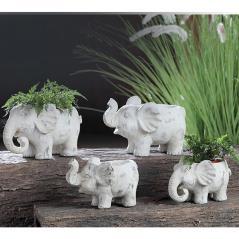 Κασπώ ελέφαντας με παλαιωμένο φινίρισμα,λευκό 20,5x13,5x12,5cm | ZAROS