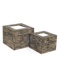 Μεταλλικά κουτιά με καθρέπτη αντικέ χρυσό χρυσό, 16x16x13cm / 21x21x16,5cm