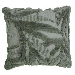 Μαξιλάρι υφαντό με ανάγλυφα φύλλα πράσινο 45x45cm