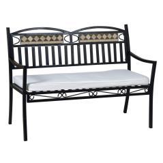 Μεταλλικός Καναπές 2 Θέσεων Με Μαξιλάρι σε μαύρο 123x57x89cm