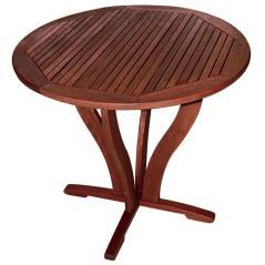 Ξύλινο Στρογγυλό Σταθερό Τραπέζι Kwilla Καφέ 85x75cm