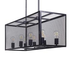 Φωτιστικό οροφής με 8 λαμπτήρες Μαύρο Μέταλλο,Γυαλί 80x35x90cm