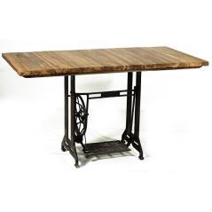 Τραπέζι τραπεζαρίας ξύλινο με σιδερένια βάση Καφέ 140x70x75cm