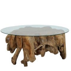 Τραπέζι σαλονιού ρίζα με στρογγυλή γυάλινη επιφάνεια Φυσικό Ξύλο (Βάση)80x80x40cm /(επιφάνεια)125x75cm