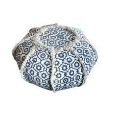 Boho Adono Πουφ ροτόντα Μπλε Ύφασμα 60x60x35cm