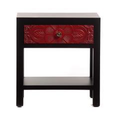 Chinoise Κομοδίνο με σκαλιστό κόκκινο συρτάρι και Μαύρο Ξύλο 47x34x50cm