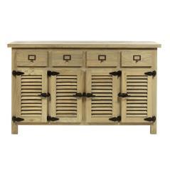 Μπουφές με 4 πόρτες και 4 συρτάρια από ξύλο μασίφ Γκρί Πατίνα Ξύλο 150x45x90cm