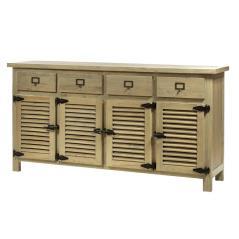 Μπουφές με 4 πόρτες και 4 συρτάρια από ξύλο μασίφ Γκρί Πατίνα Ξύλο 175x45x90cm
