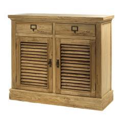 Μπουφές με 2 πόρτες και 2 συρτάρια από ξύλο μασίφ Γκρί Πατίνα Ξύλο 110x42x95cm