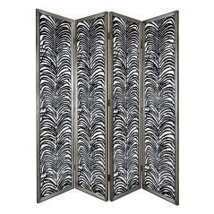 Herero Παραβάν διακοσμητικό Μαύρο Μέταλλο,Γυαλί 45x4x185cm