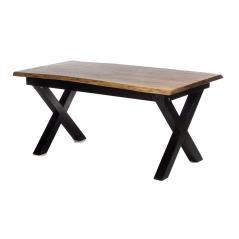 Τραπέζι φαγητού φυσικό/ Μαύρο Ξύλο 160x90x77cm