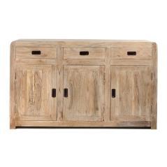 Μπουφές με 3 πόρτες και 3 συρτάρια κιμωλία Λευκή Πατίνα Ξύλο 150x41x90cm