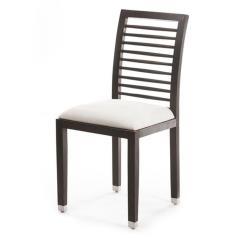 Καρέκλα φαγητού με ξύλινο σκελετό καφέ και λευκή δερματίνη 46x46x96cm