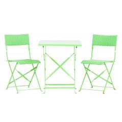 Καρέκλα αναδιπλούμενη πράσινη μεταλλική Τρ. 60x60x70 /Καρ. 34x38x80cm