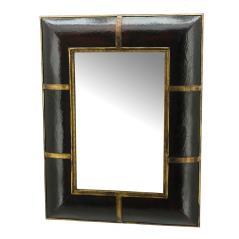 Καθρέπτης τοίχου πολυγωνικός Καφέ Ξύλο,Δέρμα 40x65cm