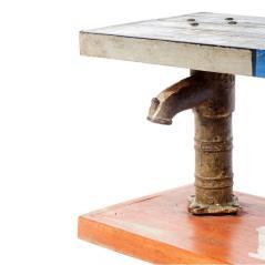 Παγκάκι με τύπωμα από ξύλο και μεταλλική βάση Πολύχρωμο 153x42x47cm