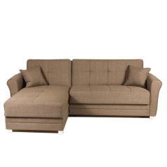 FABELLO Καναπές-κρεβάτι γωνία καφέ Ύφασμα 258x145x80cm (Κρεβ. 112x205cm)