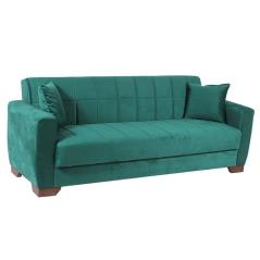 BARATO Καναπές-κρεβάτι τριθέσιος Πράσινο Βελούδο 218x82x76cm (Κρεβ. 103x183cm)