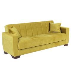 BARATO Καναπές-κρεβάτι τριθέσιος Κίτρινο Βελούδο 218x82x76cm (Κρεβ. 103x183cm)