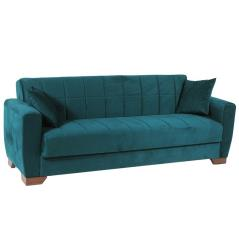 BARATO Καναπές-κρεβάτι τριθέσιος Πετρόλ Βελούδο 220x80x82cm (Κρεβ. 103x183cm)