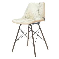 Καρέκλα δερμάτινη Εκρού με μεταλλικά πόδια 45x40x80cm