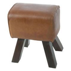 Σκαμπώ ξύλινο με Καφέ Δέρμα 40x25x50cm
