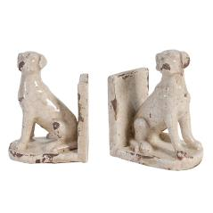 Dog Βιβλιοστάτες Σετ/2 Μπέζ Κεραμικό 13x10x18cm