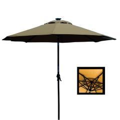 Ομπρέλα εξωτερικού χώρου με Led φωτισμό Καφέ Μέταλλο 240x240x270cm