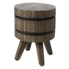 Σκαμπώ στρογγυλό με 4 πόδια Καφέ Πατίνα Ξύλο 35x35x45cm