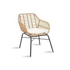 Naoki Πολυθρόνα κήπου μέταλλο μαύρο-pe φυσικό 70x59x78cm