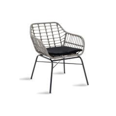 Naoki Πολυθρόνα κήπου μέταλλο μαύρο-pe γκρι 70x59x78cm