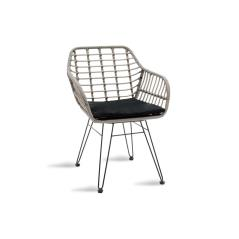 Naoki Πολυθρόνα κήπου μαύρο μέταλλο-γκρι pe 67x59x81cm
