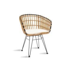 Naoki Πολυθρόνα κήπου μαύρο μέταλλο-pe φυσικό 57x61x80cm