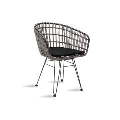 Naoki Πολυθρόνα κήπου μαύρο μέταλλο-pe γκρι 57x61x80cm