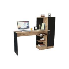 Γραφείο-ραφιέρα Kary μαύρο-oak 152,5x40x120εκ