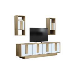 Έπιπλο τηλεόρασης Nadira φυσικό-λευκό 150x27x44εκ