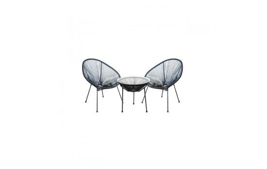 ACAPULCO SET (Τραπέζι+2 Πολυθρόνες) ΜΕΤ.ΜΑΥΡO, PLASTIC RATTAN ΜΑΥΡΟ